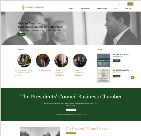 Screenshot of The Presidents Council Newsletter design