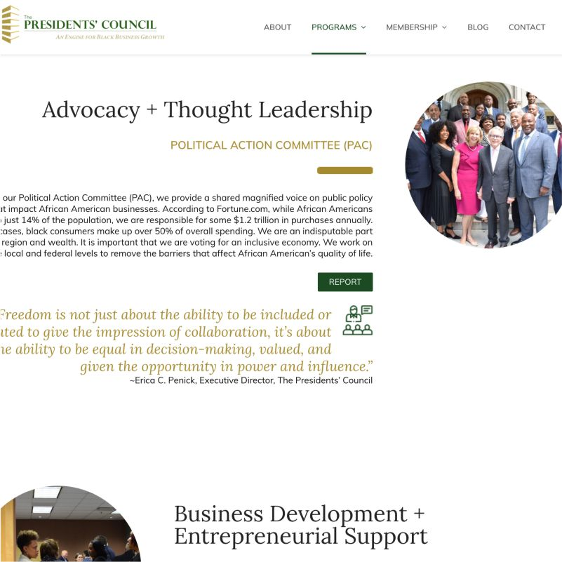 Screenshot of The Presidents Council website design