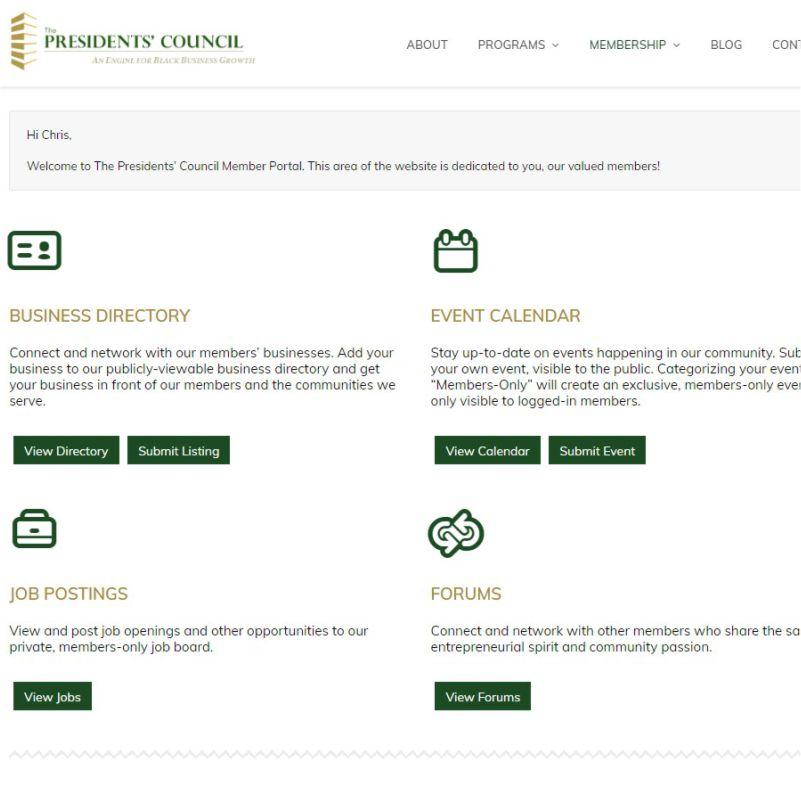 The Presidents Council Case Study membership platform